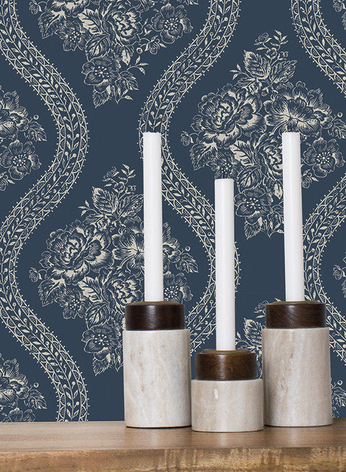Coverlet Floral Wallpaper In Black And White From The