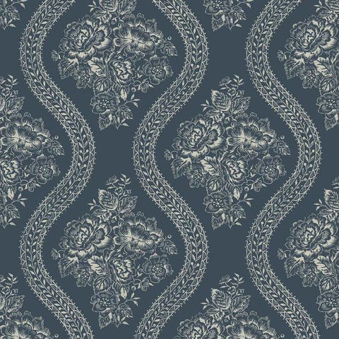 Coverlet Floral Wallpaper in Blue from the Magnolia Home Collection by Joanna Gaines for York Wallcoverings