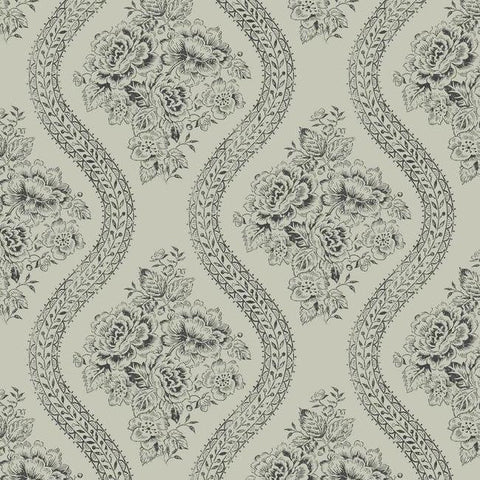 Coverlet Floral Wallpaper in Grey and Black from the Magnolia Home Collection by Joanna Gaines for York Wallcoverings