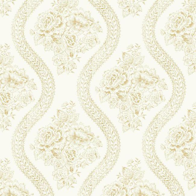 Coverlet Floral Wallpaper in Ivory and Neutrals from the Magnolia Home Collection by Joanna Gaines for York Wallcoverings