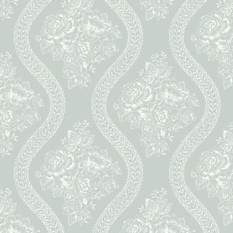 Coverlet Floral Wallpaper in Soft Mint from the Magnolia Home Collection by Joanna Gaines for York Wallcoverings