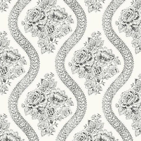 Coverlet Floral Wallpaper in White and Black from the Magnolia Home Collection by Joanna Gaines for York Wallcoverings