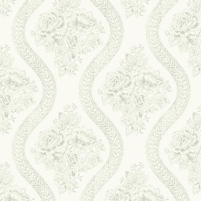 Coverlet Floral Wallpaper in White and Grey from the Magnolia Home Collection by Joanna Gaines for ...