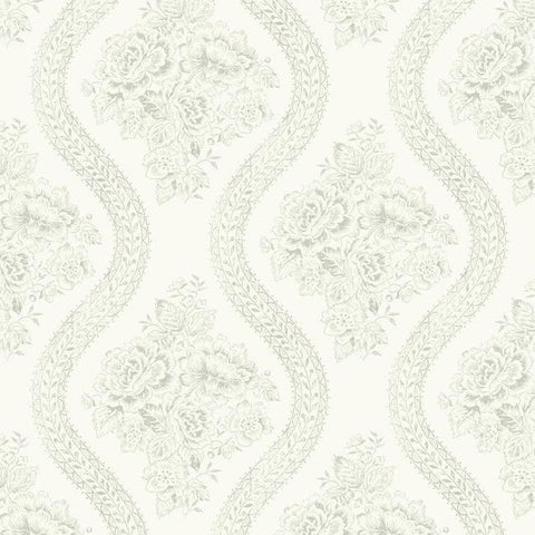 Coverlet Floral Wallpaper in White and Grey from the Magnolia Home Collection by Joanna Gaines for York Wallcoverings