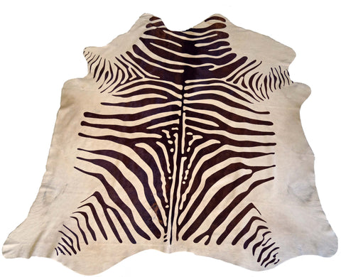 Brown and White Zebra Cowhide Rug design by BD Hides