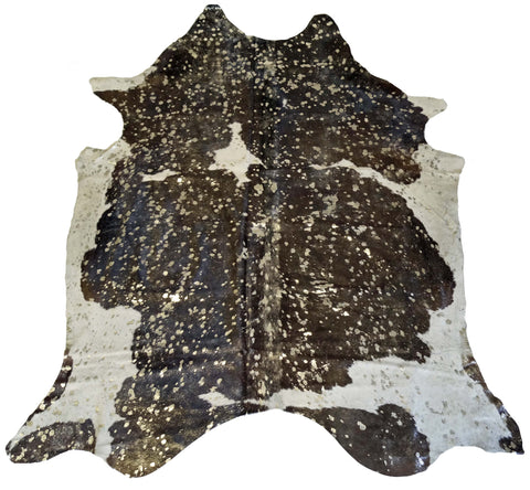 Gold Acid Wash Black and White Cowhide Rug design by BD Hides