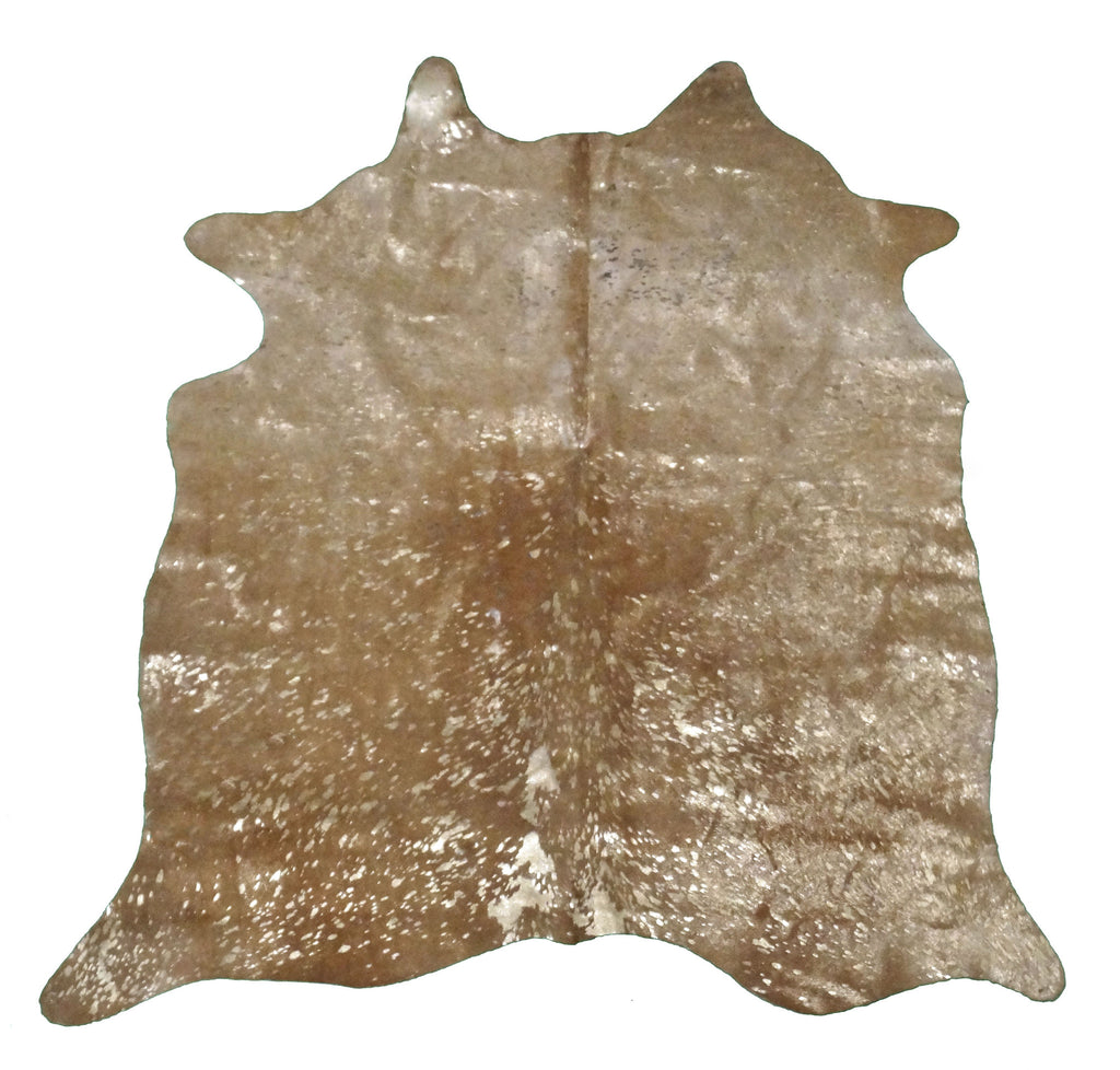 Gold Acid Wash on Brown Cowhide Rug design by BD Hides