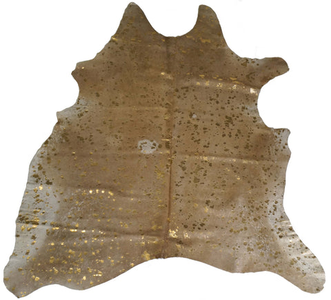 Gold Acid Wash on Tan Cowhide Rug design by BD Hides