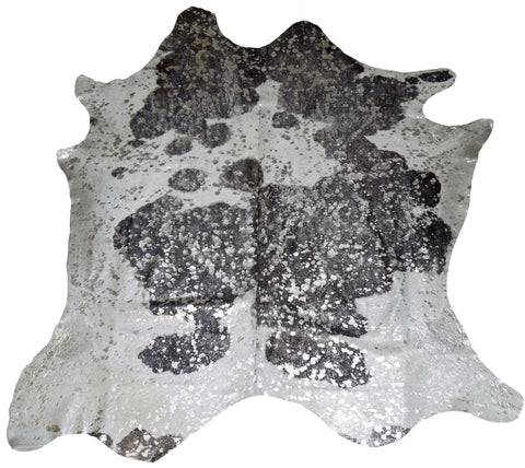 Silver Acid Wash Black and White Cowhide Rug design by BD Hides