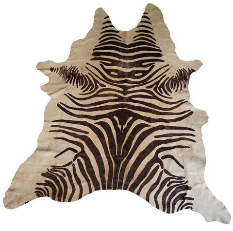 Tan Acid Wash Zebra Cowhide Rug design by BD Hides