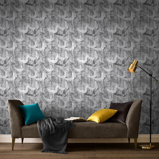 Crane Wallpaper in Grey from the Exclusives Collection by Graham & Brown