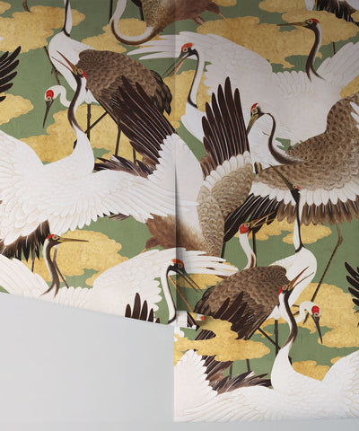 Cranes Wallpaper (Two Rolls) in Midori from the Kingdom Home Collection by Milton & King