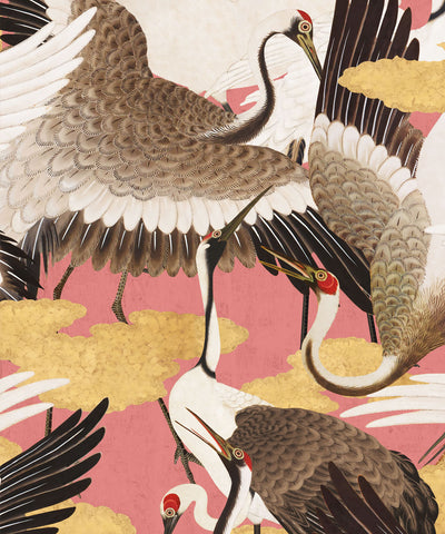 Cranes Wallpaper (Two Rolls) in Pinku from the Kingdom Home Collection by Milton & King
