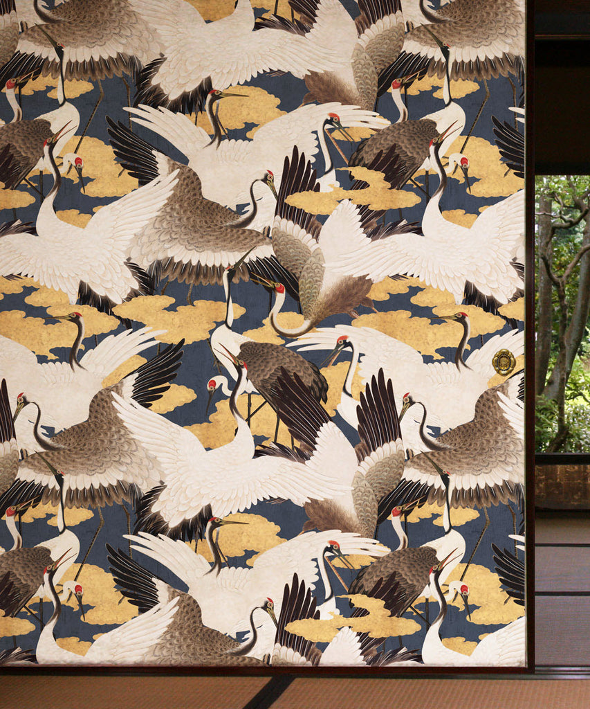 Cranes Wallpaper (Two Rolls) in Sora from the Kingdom Home Collection by Milton & King