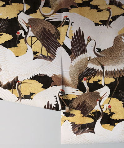 Cranes Wallpaper (Two Rolls) in Yuri from the Kingdom Home Collection by Milton & King