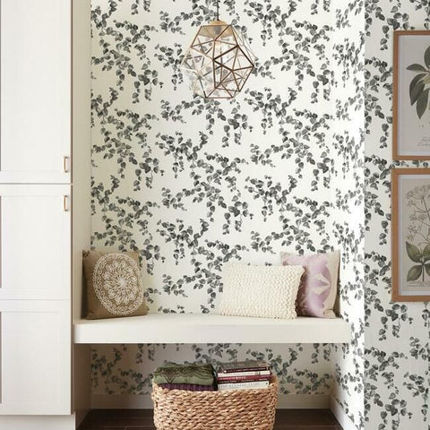 Creeping Fig Vine Wallpaper in Black and White from the Simply Farmhouse Collection by York Wallcoverings