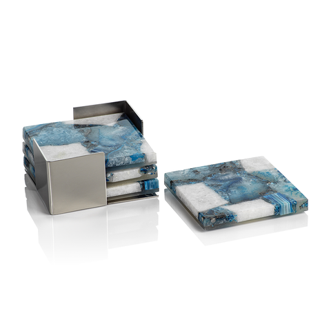 Crete Agate Coaster Set on Metal Tray in Blue and White by Panorama City