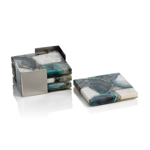 Crete Agate Coaster Set on Metal Tray in Various Colors by Panorama City