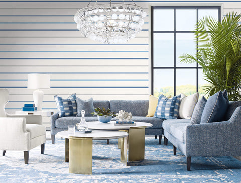 Crew Stripe Wallpaper in Air Force Blue, Grey, and Eggshell from the Luxe Retreat Collection by Seabrook Wallcoverings
