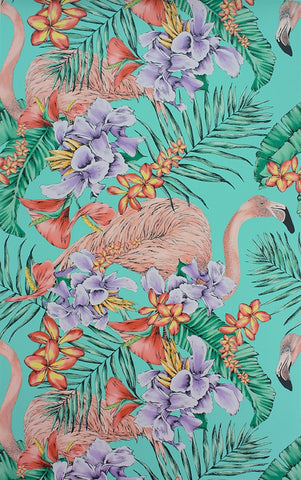 Flamingo Club Wallpaper in Jade and Lavender by Matthew Williamson for Osborne & Little