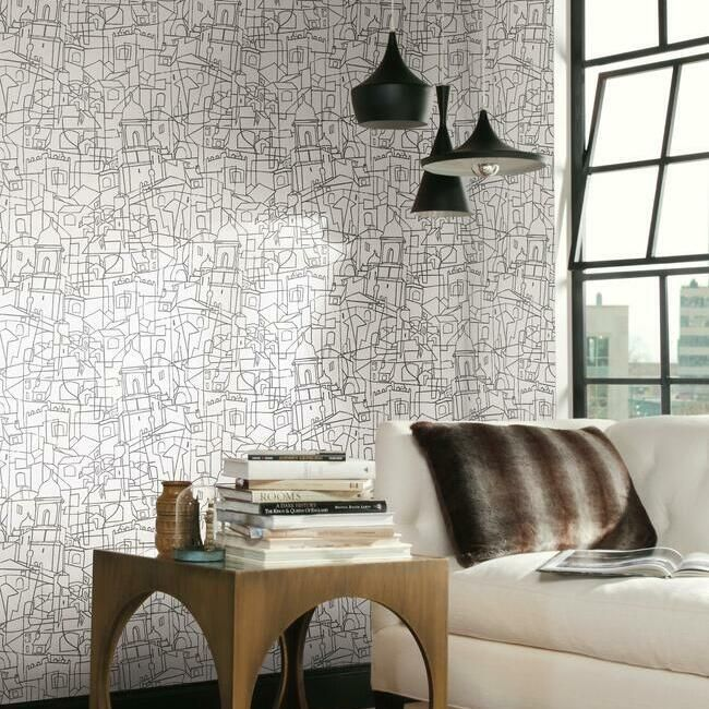 Cubist Cityscape Peel & Stick Wallpaper in Black by York Wallcoverings