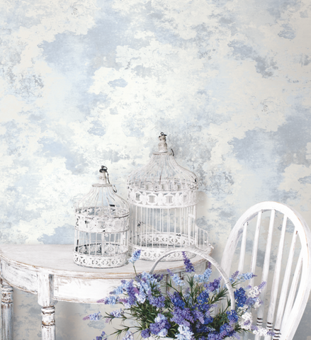 Culebrita Lighthouse Wallpaper in Lilac and Blue from the Solaris Collection by Mayflower Wallpaper
