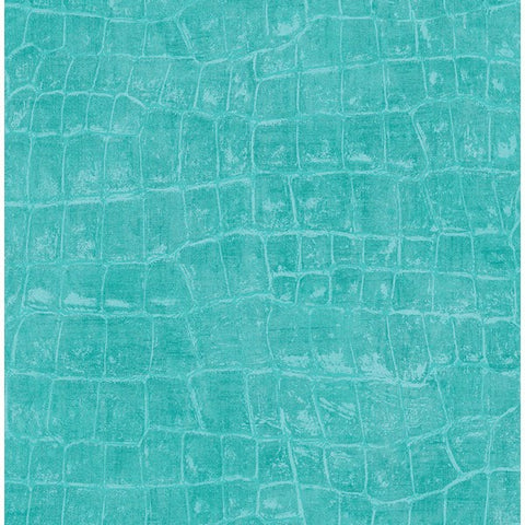 Curacao Animal Pattern Wallpaper in Aqua from the Tortuga Collection by Seabrook Wallcoverings