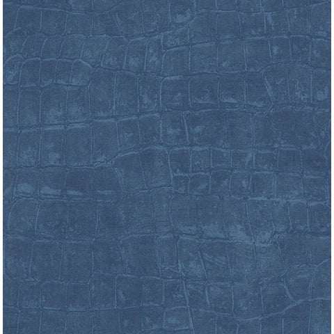 Curacao Animal Pattern Wallpaper in Deep Blue from the Tortuga Collection by Seabrook Wallcoverings
