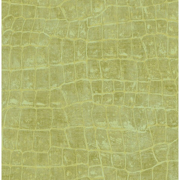 Curacao Animal Pattern Wallpaper in Green from the Tortuga Collection by Seabrook Wallcoverings