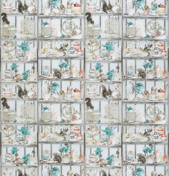 Sample Curio Fabric in Soft Grey and Coral from the Enchanted Gardens Collection by Osborne & Little