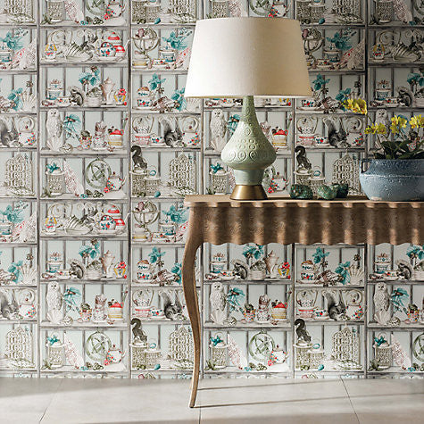 Curio wallpaper in soft grey coral from the enchanted - Papeles pintados ingleses ...