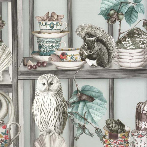 Curio Wallpaper in Soft Grey/Coral from the Enchanted Gardens Collection by Osborne & Little