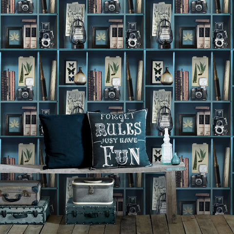 Curiosite Biblio Wallpaper in Blue from the Strata Collection by Graham & Brown