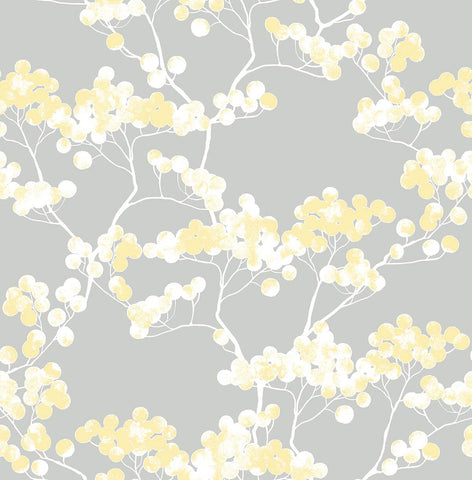 Cyprus Blossom Peel-and-Stick Wallpaper in Buttercup and Grey by NextWall