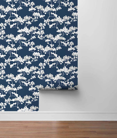 Cyprus Blossom Peel-and-Stick Wallpaper in Navy and Grey by NextWall