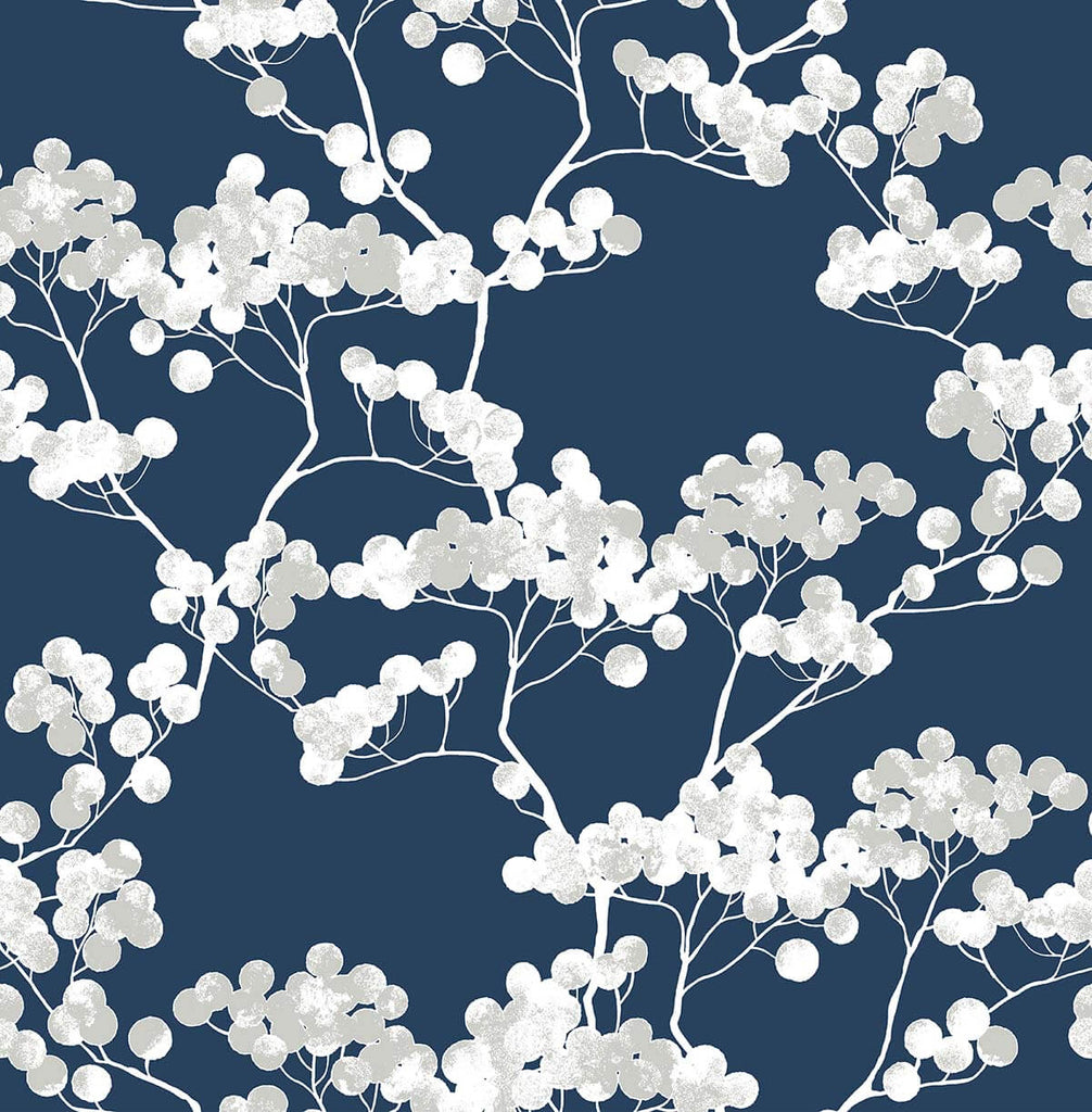 Sample Cyprus Blossom Peel-and-Stick Wallpaper in Navy and Grey by NextWall