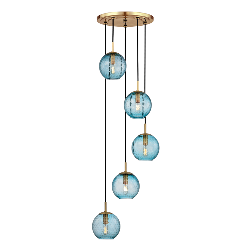 Rousseau 5 Light Pendant With Blue Glass