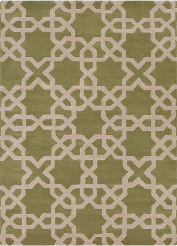 Davin Collection Hand-Tufted Area Rug in Green & Cream