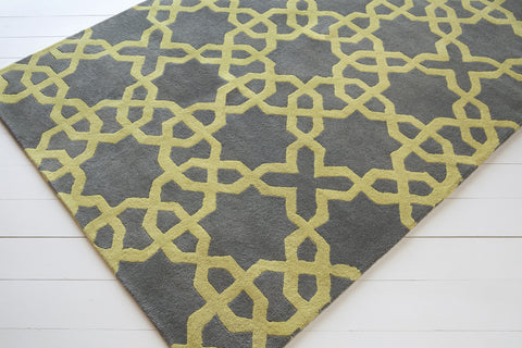 Davin Collection Hand-Tufted Area Rug in Charcoal & Green