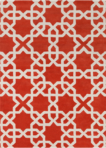 Davin Collection Hand-Tufted Area Rug in Orange & White