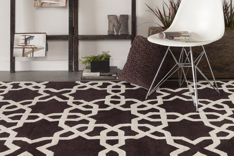 Davin Collection Hand-Tufted Area Rug in Brown & White
