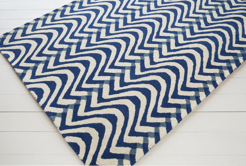 Davin Collection Hand-Tufted Area Rug in Blue, White, & Grey design by Chandra rugs