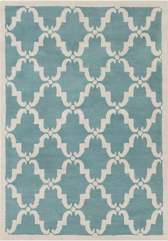 Davin Collection Hand-Tufted Area Rug in Light Aqua & White design by Chandra rugs