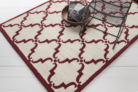 Davin Collection Hand-Tufted Area Rug in White & Maroon design by Chandra rugs