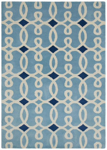 Davin Collection Hand-Tufted Area Rug in Navy Blue & White design by Chandra rugs
