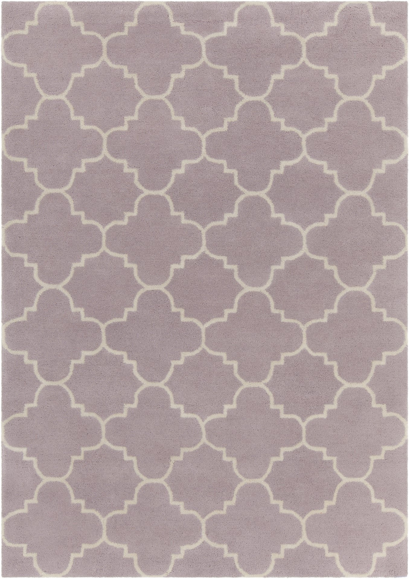 Davin Collection Hand Tufted Area Rug In Light Purple