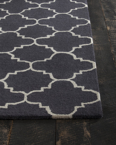 Davin Collection Hand-Tufted Area Rug in Charcoal & White