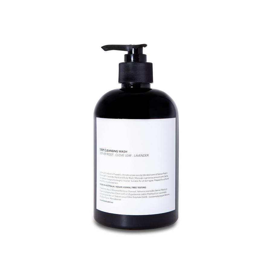 DEEP CLEANSING WASH vetiver root + clove leaf + lavender