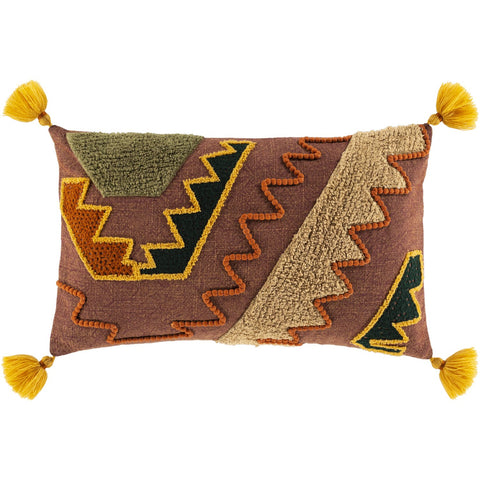 Declan DCL-001 Knitted Lumbar Pillow in Burgundy & Saffron by Surya