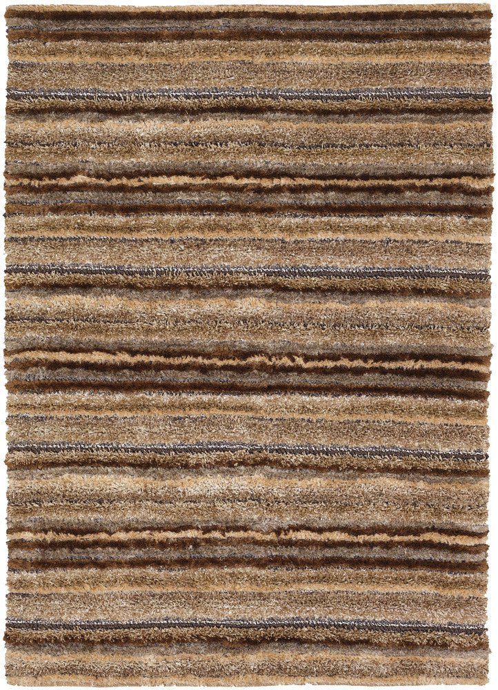 Delight Collection Hand Woven Area Rug In Brown Taupe